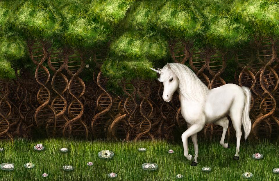 A unicorn in a mystical DNA tree forest