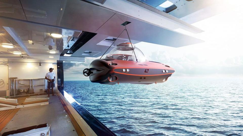 U-Boat Worx submarine being hoisted onboard a superyacht