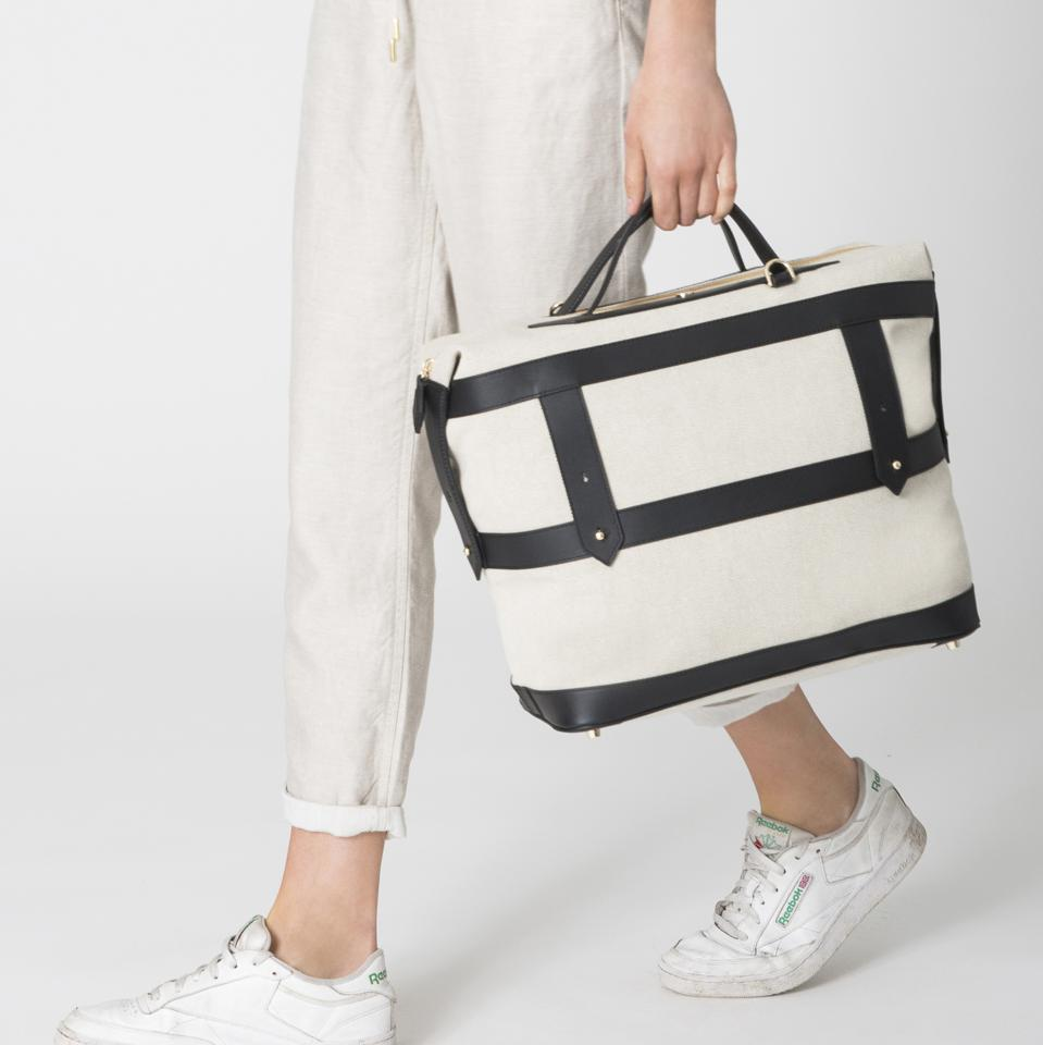 Canvas Weekender bag with leather trim details by PARAVEL