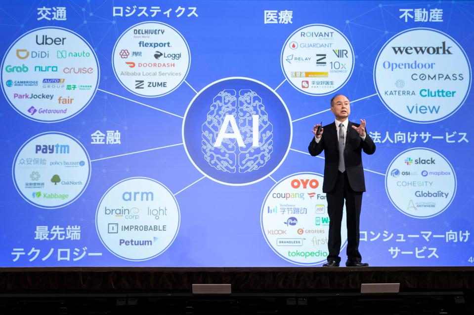 Masayoshi Son speaks during a press conference.