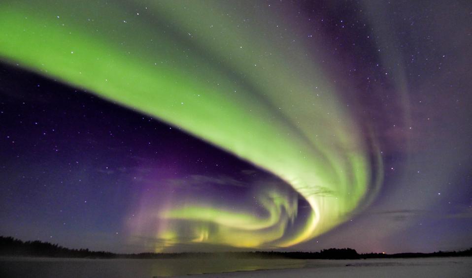 Double Aurora on lake Ruka-Kuusamo