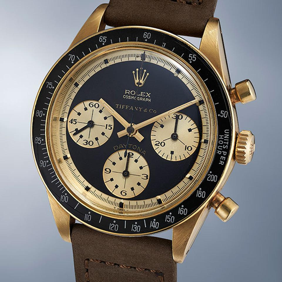 A 14k yellow gold Rolex Daytona Reference 6241 with a John Player Special Paul Newman dial, made circa 1969 and retailed by Tiffany & Co.