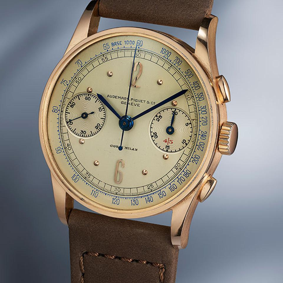 An extremely rare pink gold Audemars Piguet chronograph made in 1939 and co-signed/retailed by Gobbi of Milan.