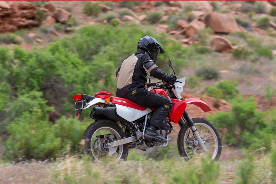 Red 2020 Honda XR650L riding in the desert