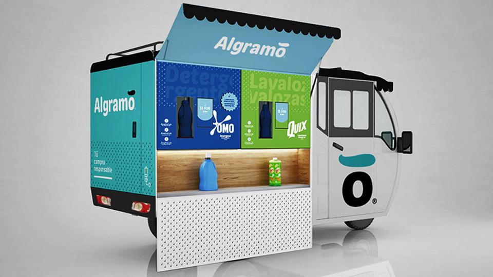 Algramo tricycle delivering home products in Chile
