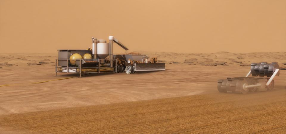 An In-situ resource utilization (ISRU) system concept for autonomous robotic excavation and processing of Mars soil to extract water for use in exploration missions.