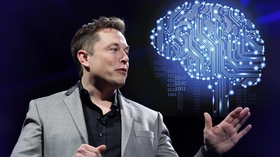 Elon Musk next to a graphic of a brain