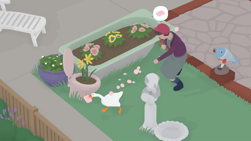 A screenshot showing the goose carrying a bar of soap in its mouth and running from a woman.