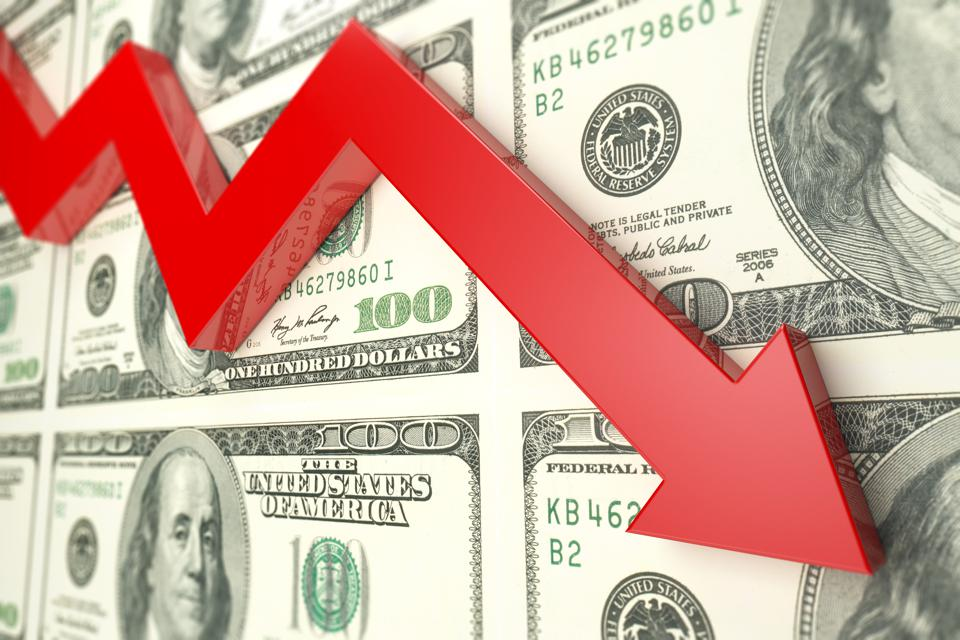 Red arrow And dollar finance decline graph- Stock image