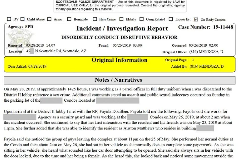 Police report - Auston Matthews