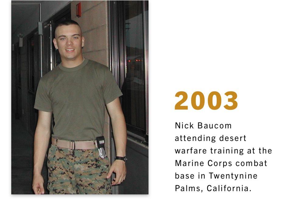 Nick Baucom attending desert warfare training at the Marine Corps combat base in Twentynine Palms, California.