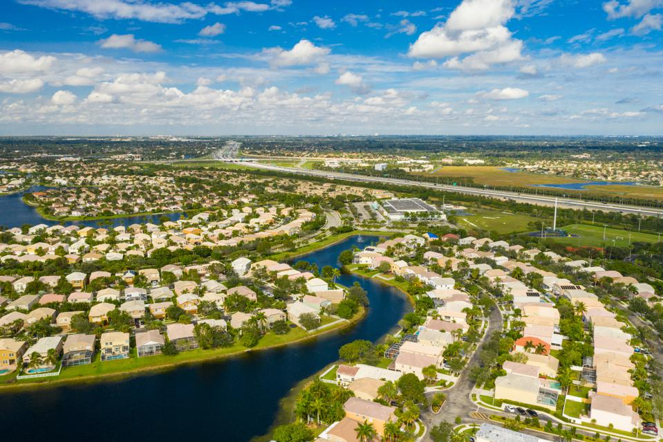 Aerial drone image of a residential neighborhood Pembroke Pines Florida USA