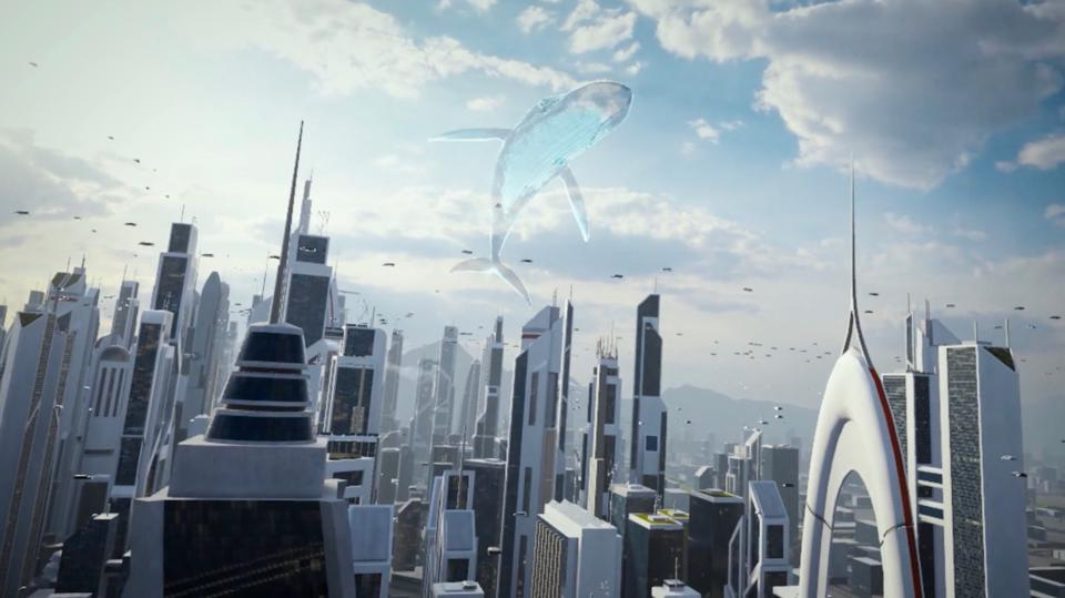 A futuristic skyline with a whale hologram in the sky.
