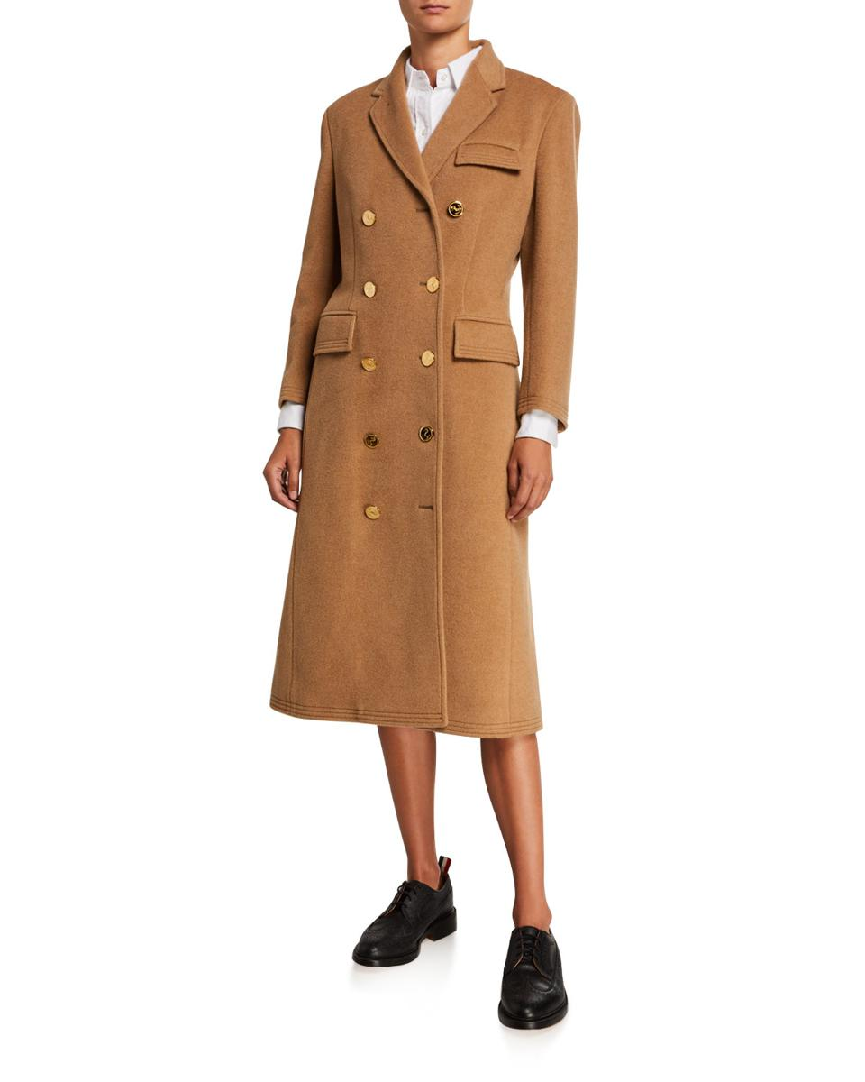 Thom Browne Chesterfield Oversized Double-Breasted Camel Hair Coat