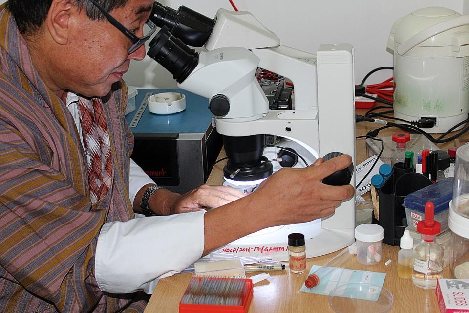 Man inspecting slide through microscope
