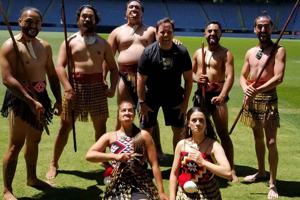 Don Yaeger performs the haka at Eden Park stadium in Auckland, New Zealand.