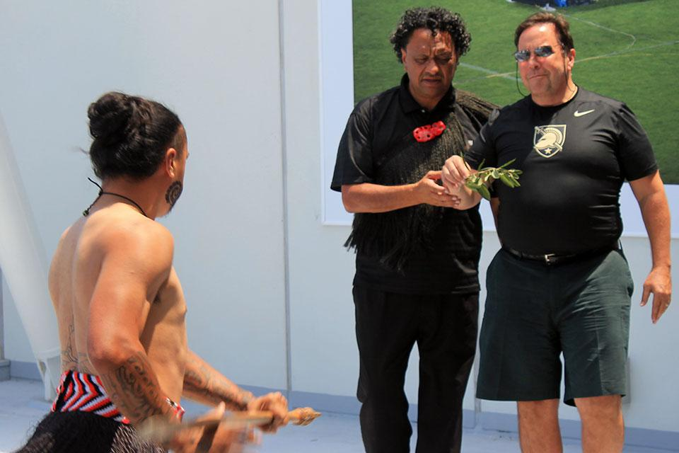 Don Yaeger learning in the haka at Eden Park stadium in Auckland, New Zealand.