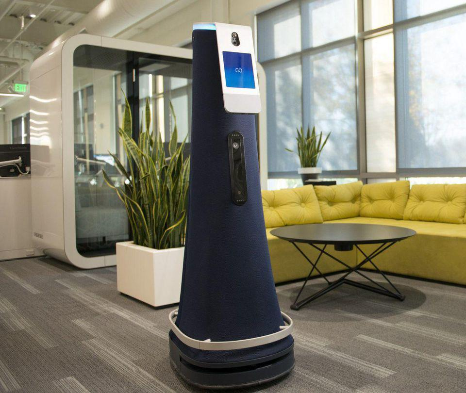 One of Cobalt's security robots in the workplace.