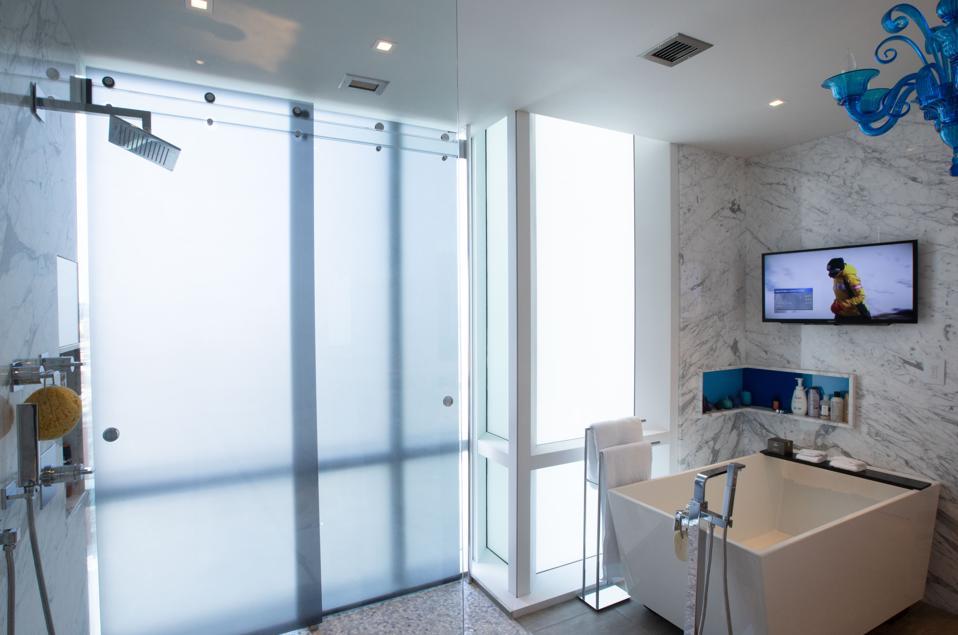 bathroom with waterproof TV