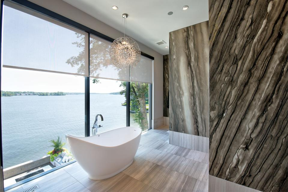 bathroom with smart home technology