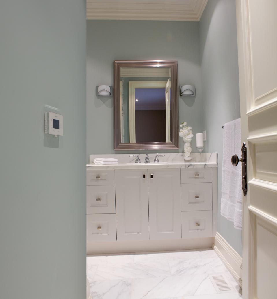 Automated bathroom radiant floor heating