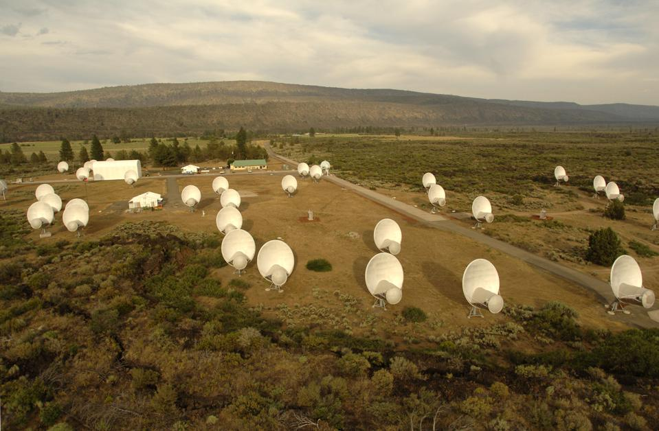A wide view of the 42-dish Allen Telescope Array in Hat Creek, Calif.