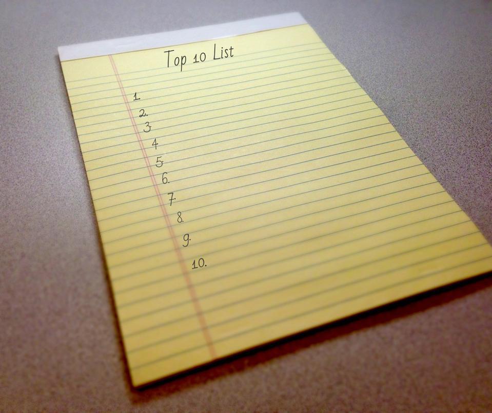 Top 10 List on Legal Pad