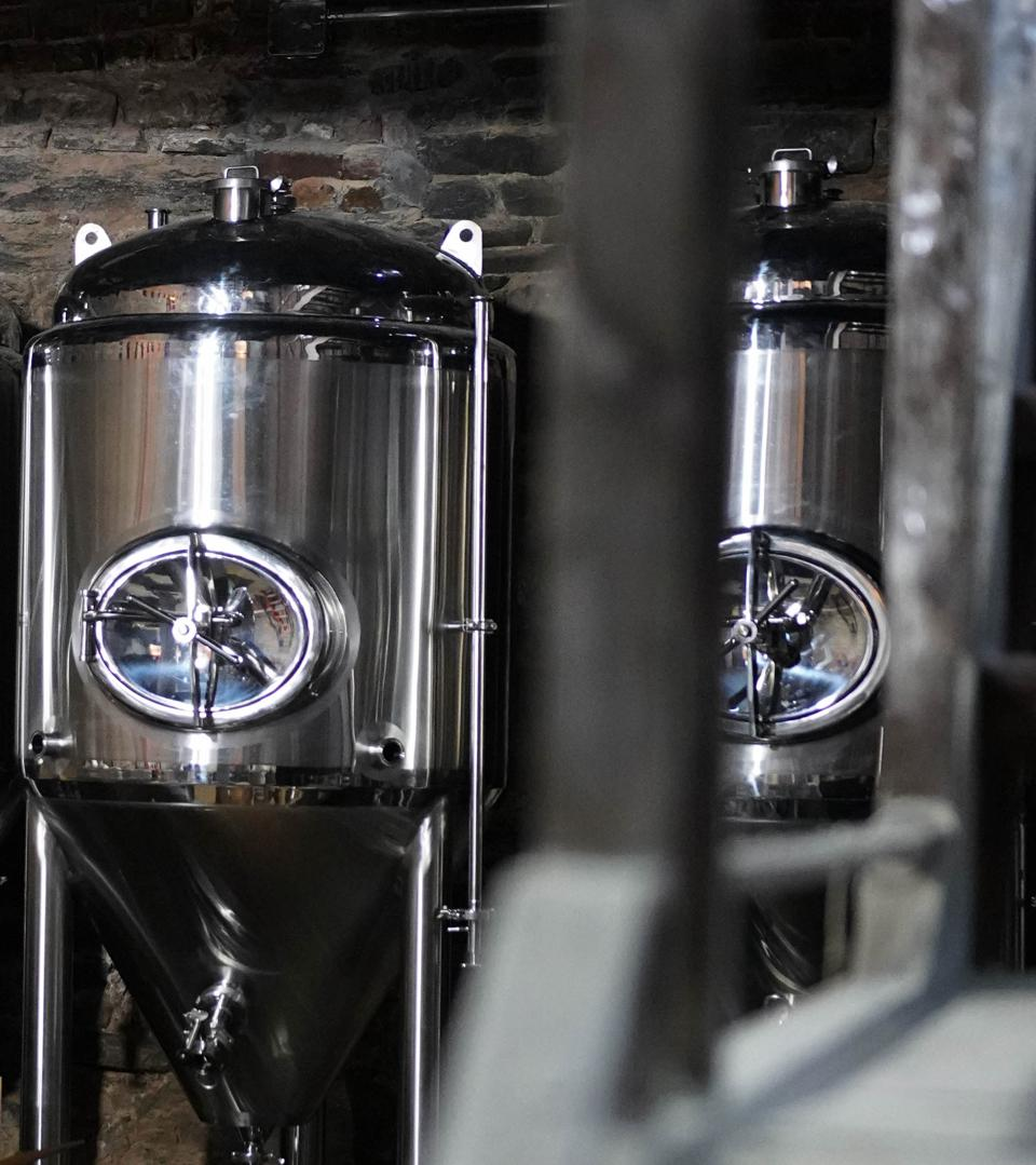 Brewing tanks at Blue Point Brewing Company.