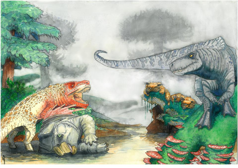 Color illustration of two reptiles fighting over a third, dead reptile. The one on the left is an orange and brown quadruped, and the one on the right is a gray striped biped.