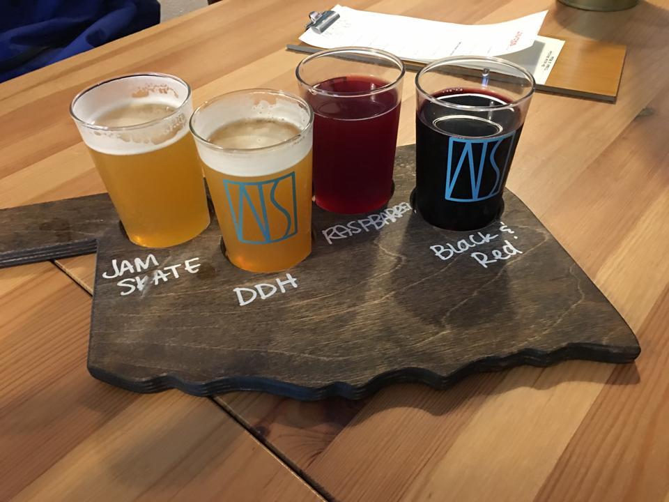 A flight of beers at American Solera