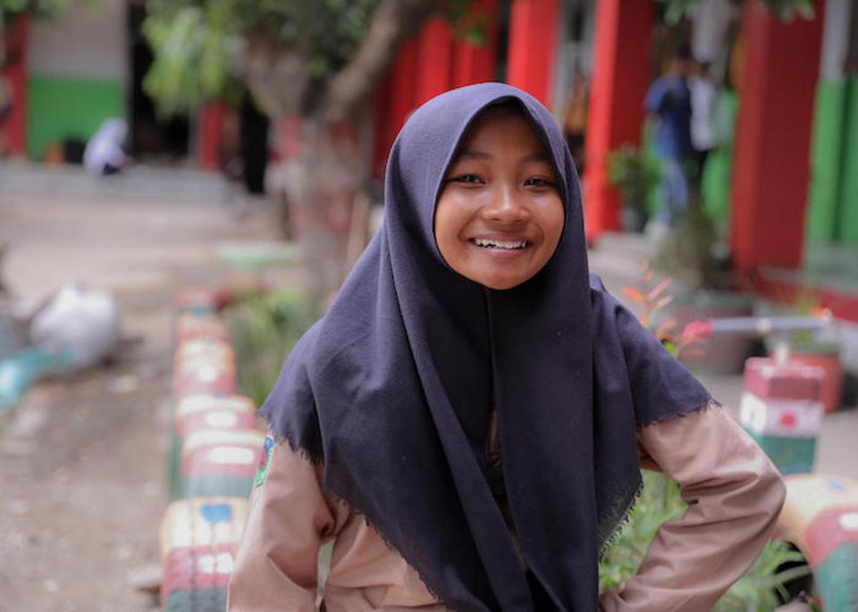 Sophia, 12, and her friends resumed their studies in a UNICEF tent one month after a tsunami struck Palu, Central Sulawesi, Indonesia in September 2018. Now, one year later, they're back in their original school building.