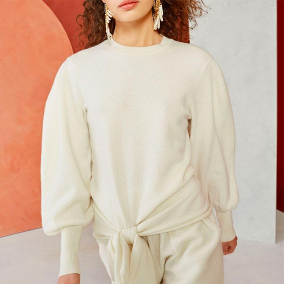 Ulla Johnson Boiled Wool Knit Tie Sweater