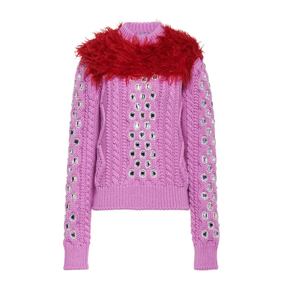 Prada Cordonnet Yarn Sweater With Decorations
