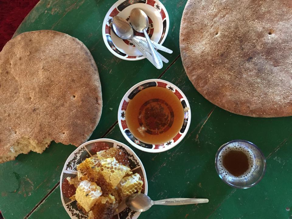 Bread and honey in Morocco