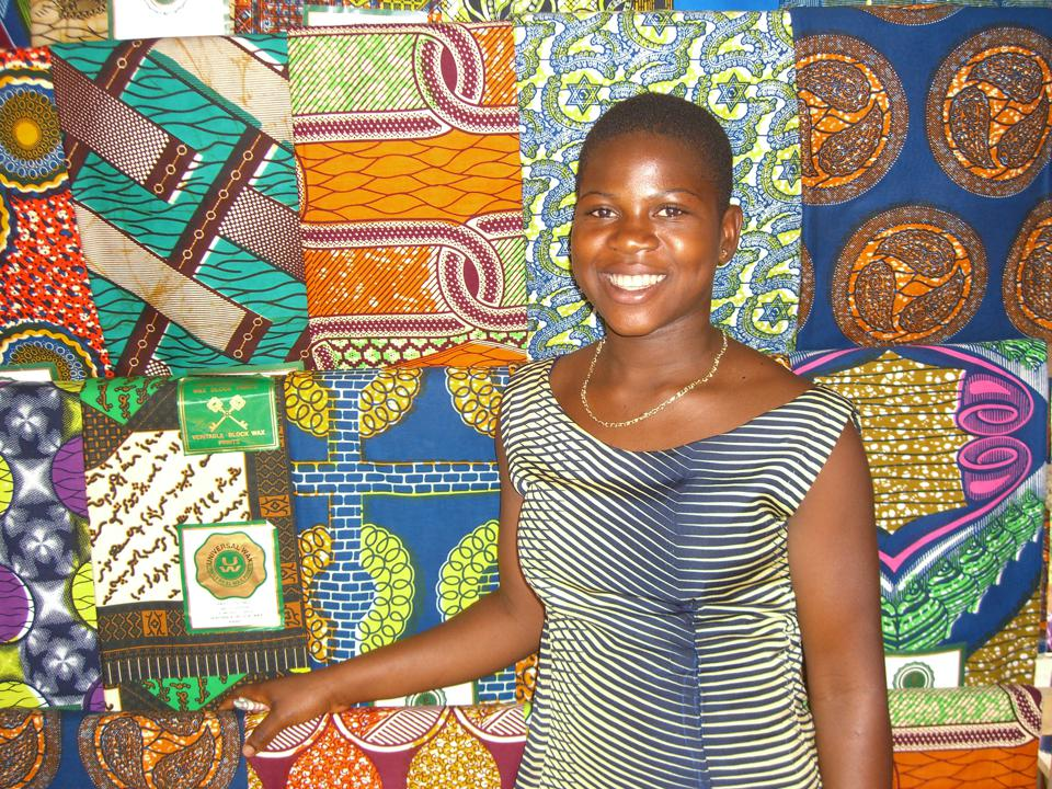 Young woman with fabric in ghana