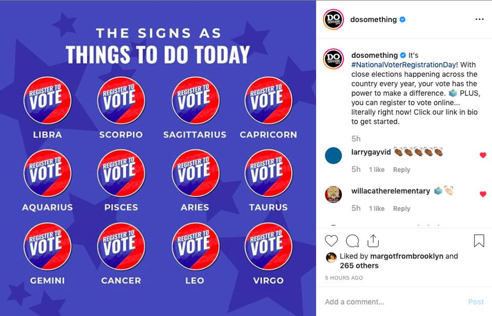 Instagram post about voter registration