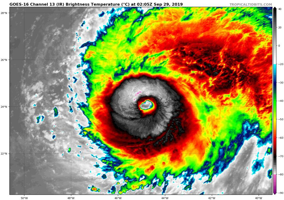 An infrared satellite image of Hurricane Lorenzo as it became a category five.