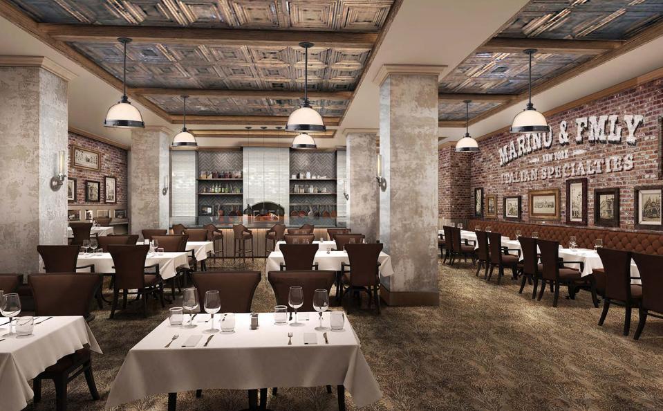 A rendering of an Italian restaurant.