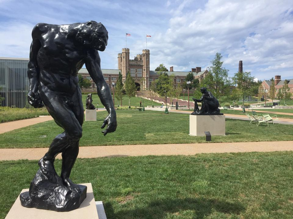 Sculpture by Auguste Rodin (foreground) and Pierre-Auguste Renior welcome visitors the the Kemper Art Museum and Washington University's newly renovated East End.