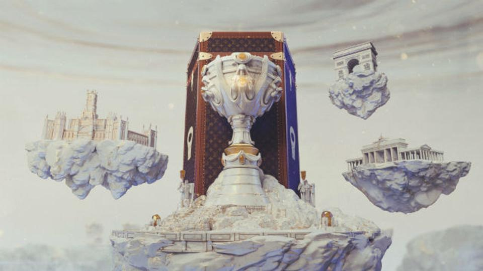 A digital render of the Louis Vuitton case and trophy for Worlds.
