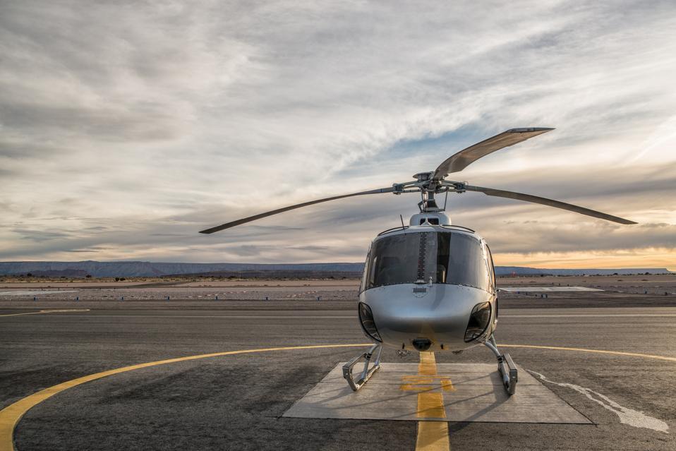 Helicopter on landing pad at dusk, Las Vegas, Nevada, USA