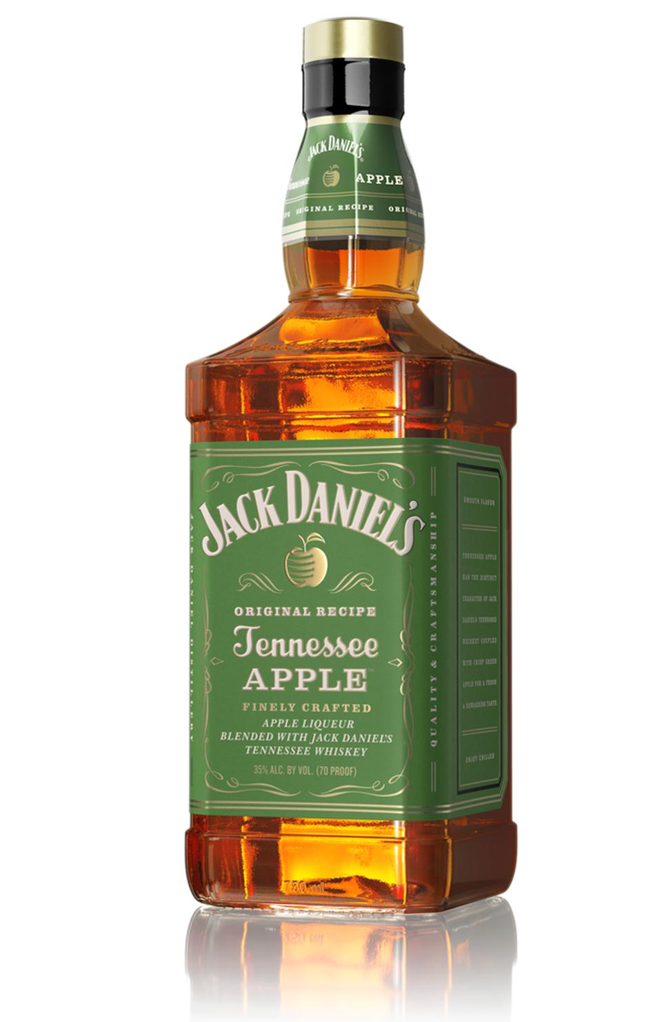 Bottle of Jack Daniel's Tennessee Apple set against a white background.