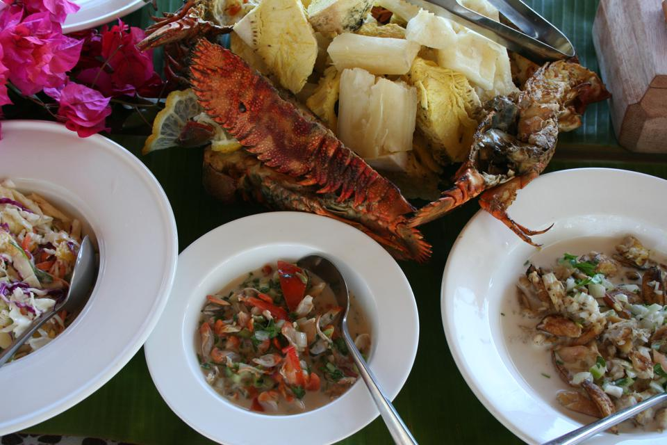 Fiji.  Turtle Island.  Food.  Fresh seafood.
