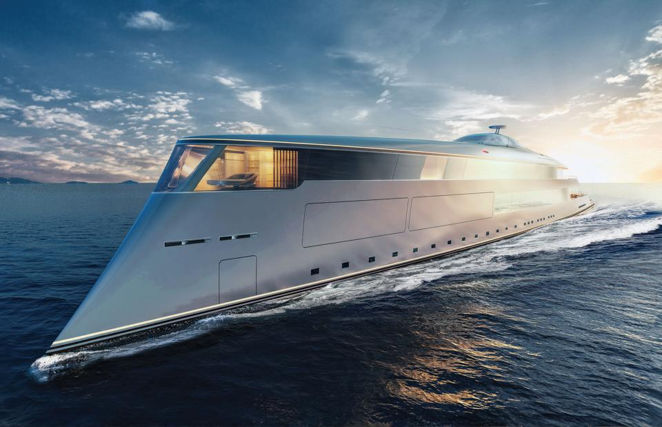 The 367-foot-long hydrogen-powered superyacht concept Aqua underway.