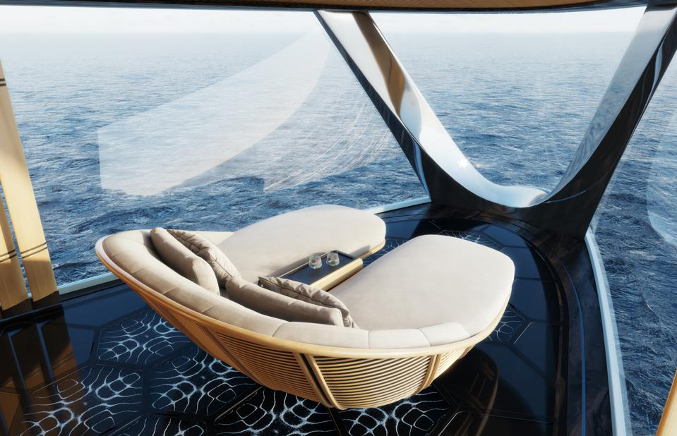 The observation area in the owners pavilion of the 367-foot-long hydrogen-powered superyacht Aqua