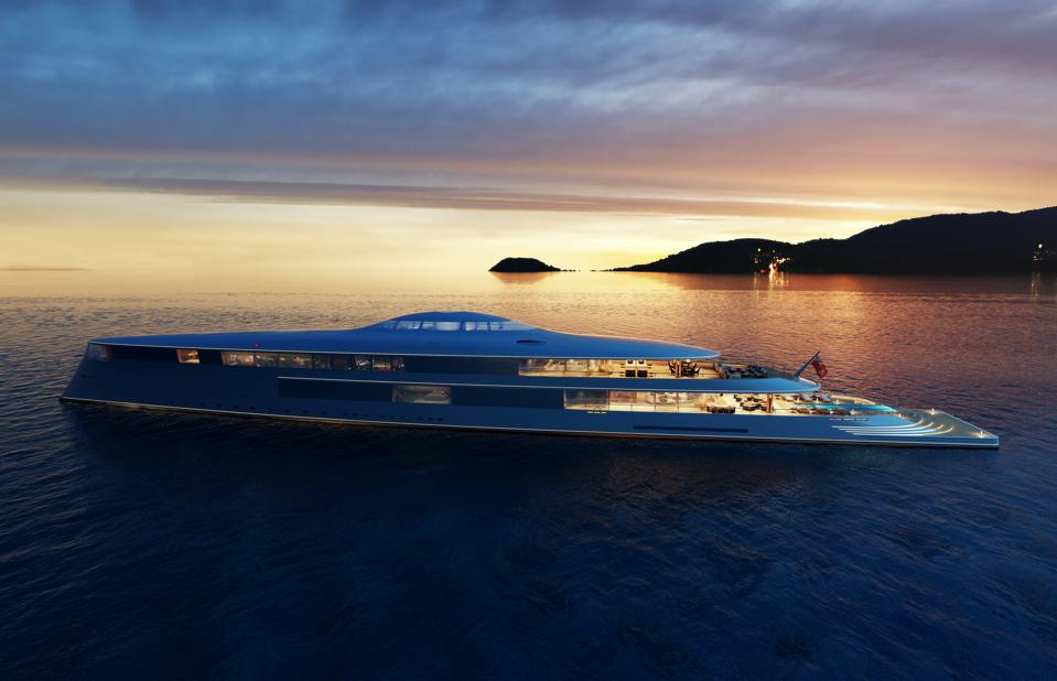 The curves of Sinot's 367-foot-long hydrogen-powered superyacht inspired by ocean swells.