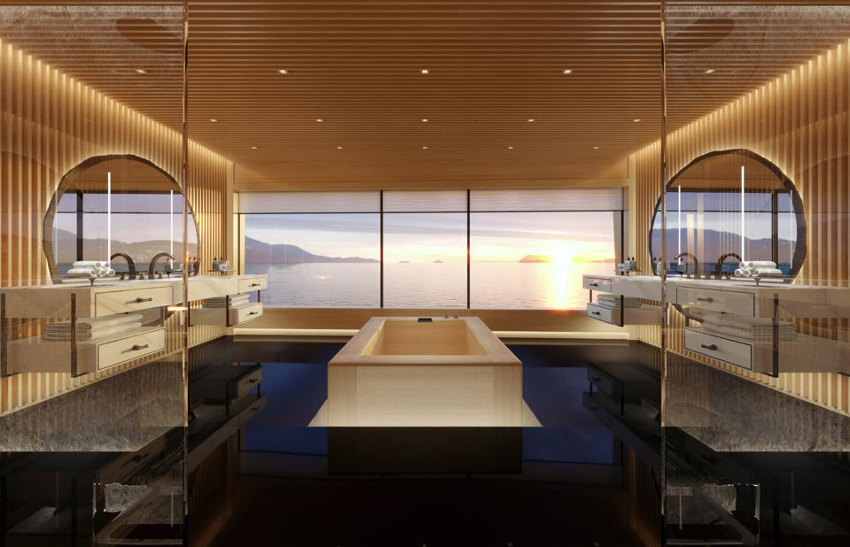 The massive owners bathroom aboard the hydrogen-powered superyacht Aqua defines opulence.