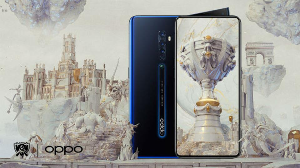 A graphic of an OPPO phone and League of Legends branding.