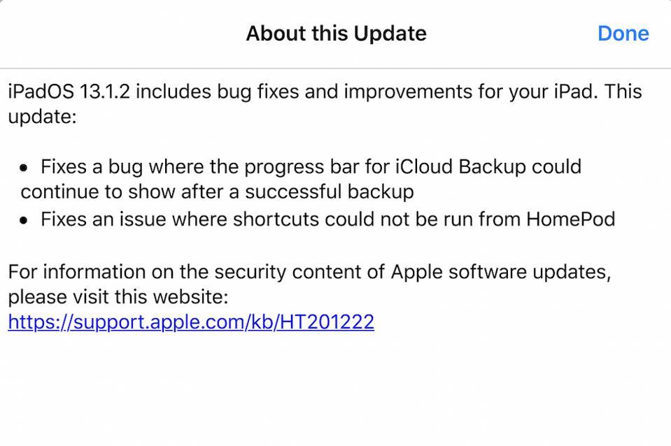 iPadOS 13.1.2