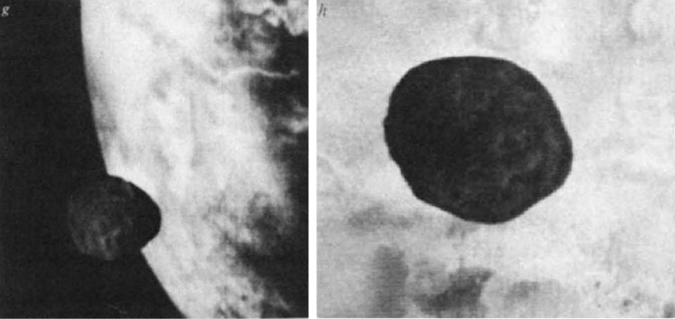 Black and white photos of Martian moon Phobos with Mars in the background.